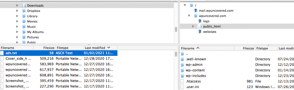 transfer file to root folder of website using FTP programme Filezilla